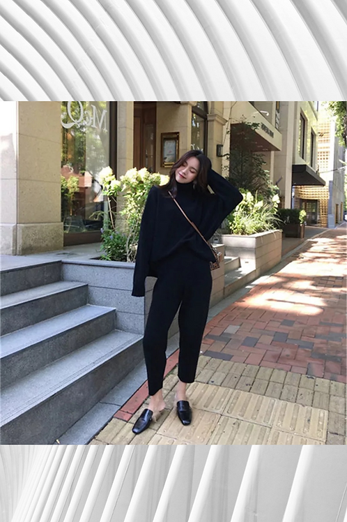 2 Pieces Set Women Knitted Tracksuit Turtleneck Sweater Suit
