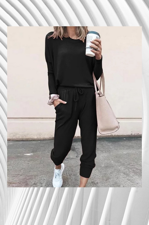 Loose Jumpsuit Casual, Comfy, Round neck,Tapered leg