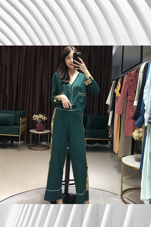Metallic Knitted Light Pant Suit