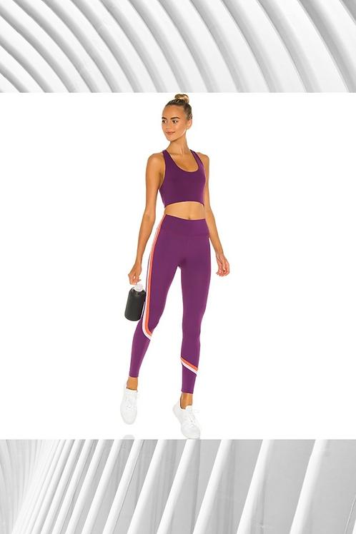 Women's Fitness High Elastic Waist Contrast Stripe Leggings