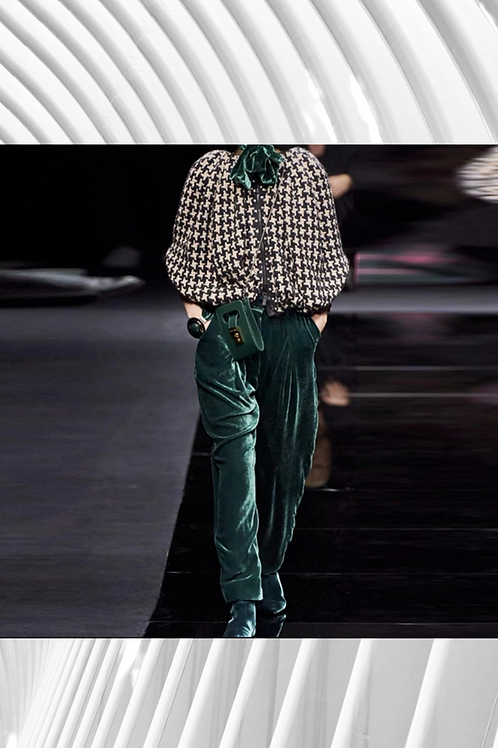 Velvet Pants And Houndstooth Top
