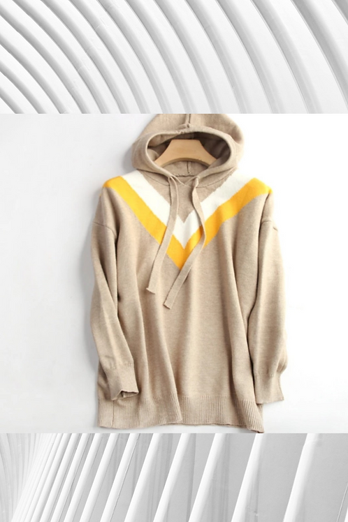 Colour Block Cashmere Mix Hoodie - Size in details