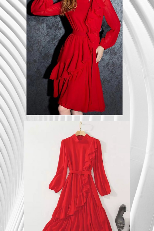 Long Sleeve Ruffle Dress - Red 2021