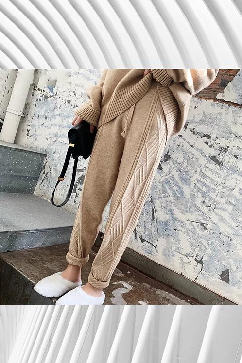 Women Harem Pants Casual Drawstring Twisted Knit Design