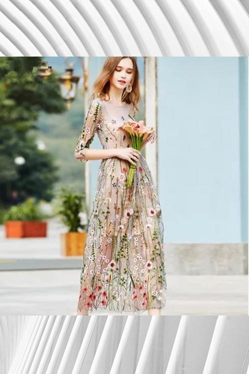 Vintage Embroidery Summer Dress - Spring