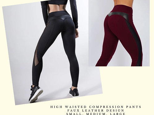 High Waisted Yoga pants with faux leather design