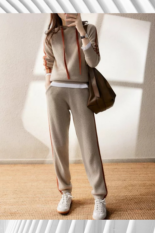 High End Cashmere Ribbed Tracksuit