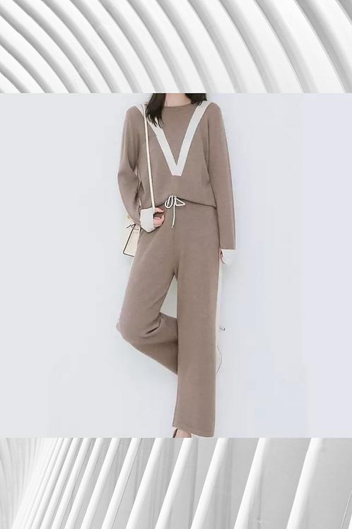 Cashmere Wide Pants Suit - Stripe