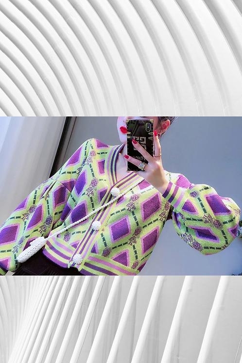Geometric casual cardigan