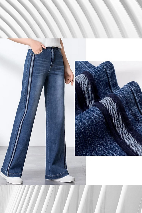 Flared High Waisted Side Stripe Jean - Sizes in details