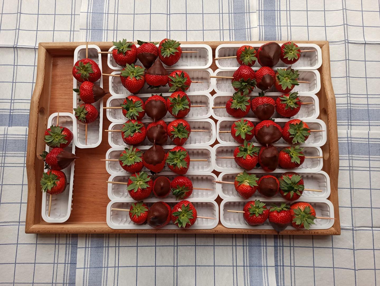 aardbeien in chocolade