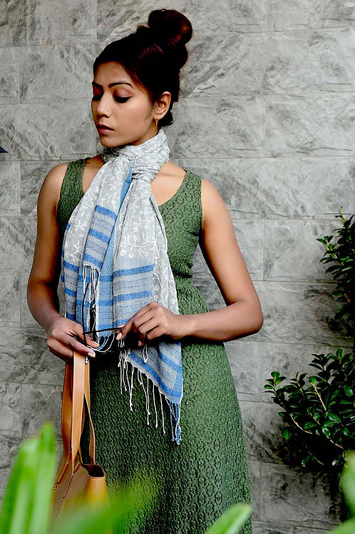 Hand Woven Stole In Chikan Embroidery