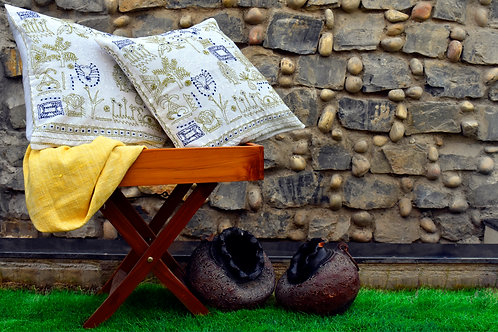Hand Woven Cushion Cover With Kantha Embroidery