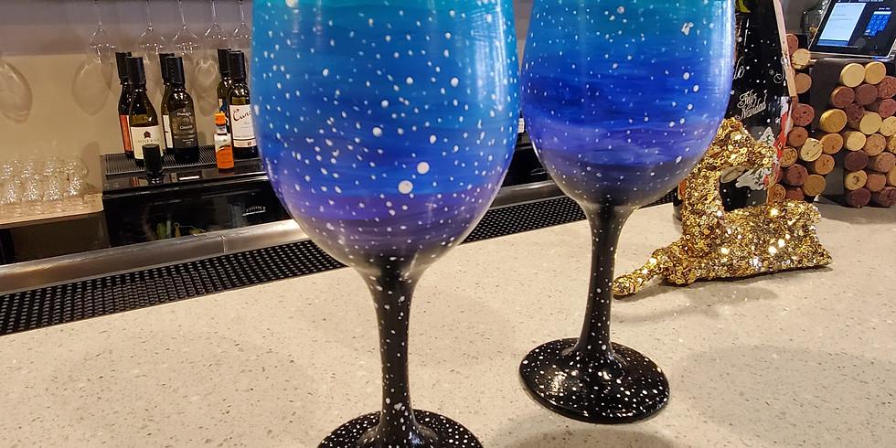 New Years Wine Glass Painting