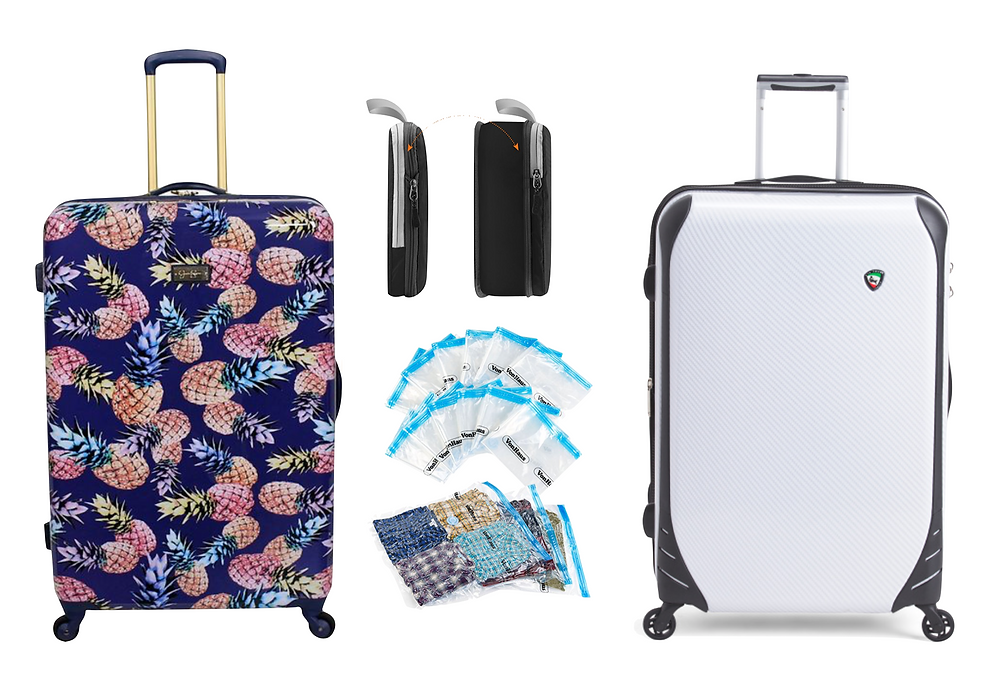 Suitcases, packing cubes and vacuum bags used for packing