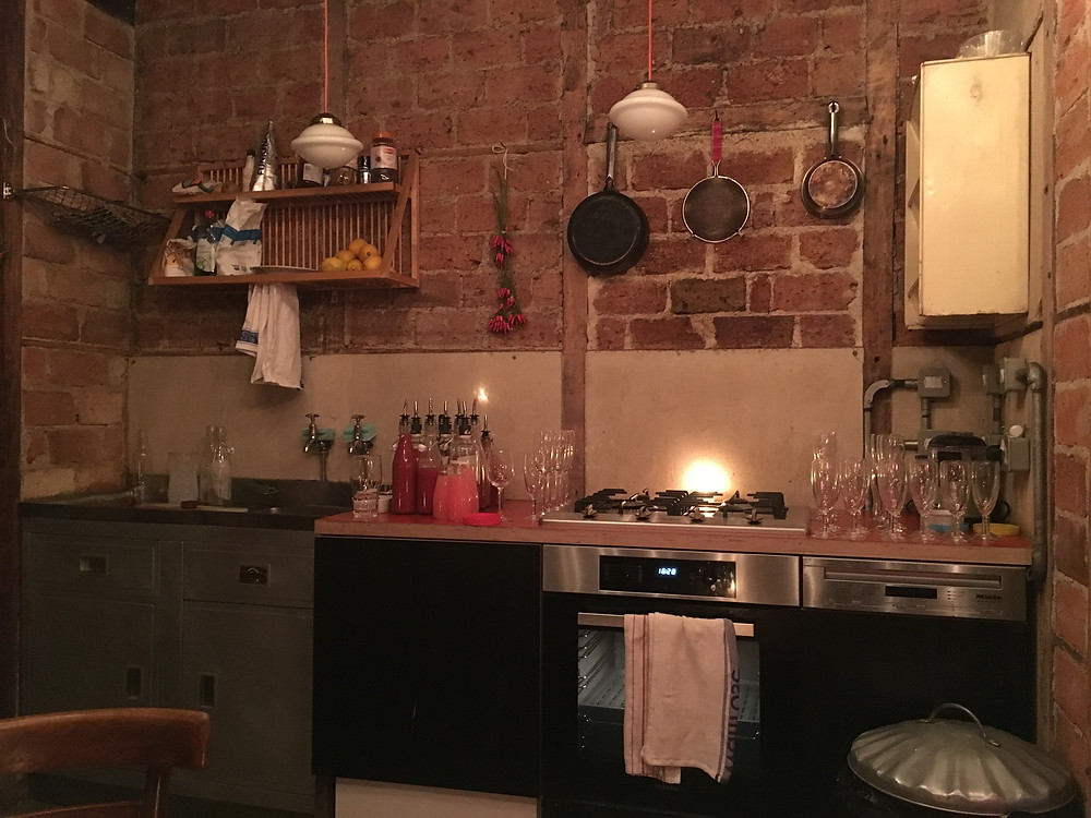 Kitchen at a pizza and prosecco event