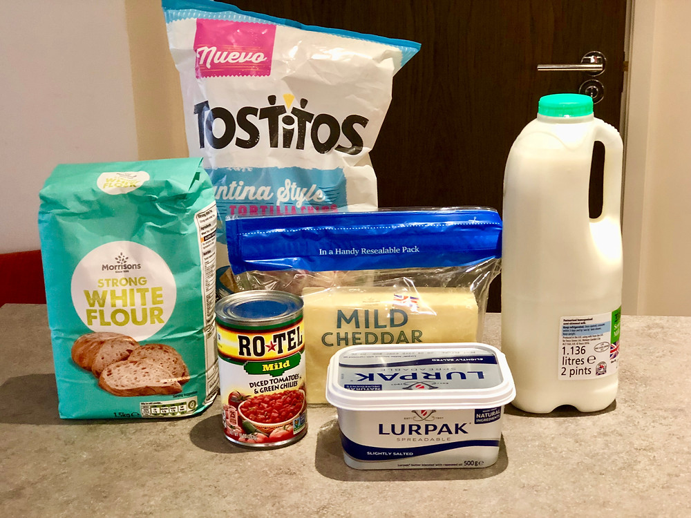 Ingredients for chili con queso