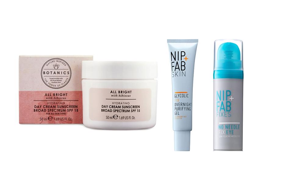 Botanics SPF face lotion, NIP+FAB gel and eye cream