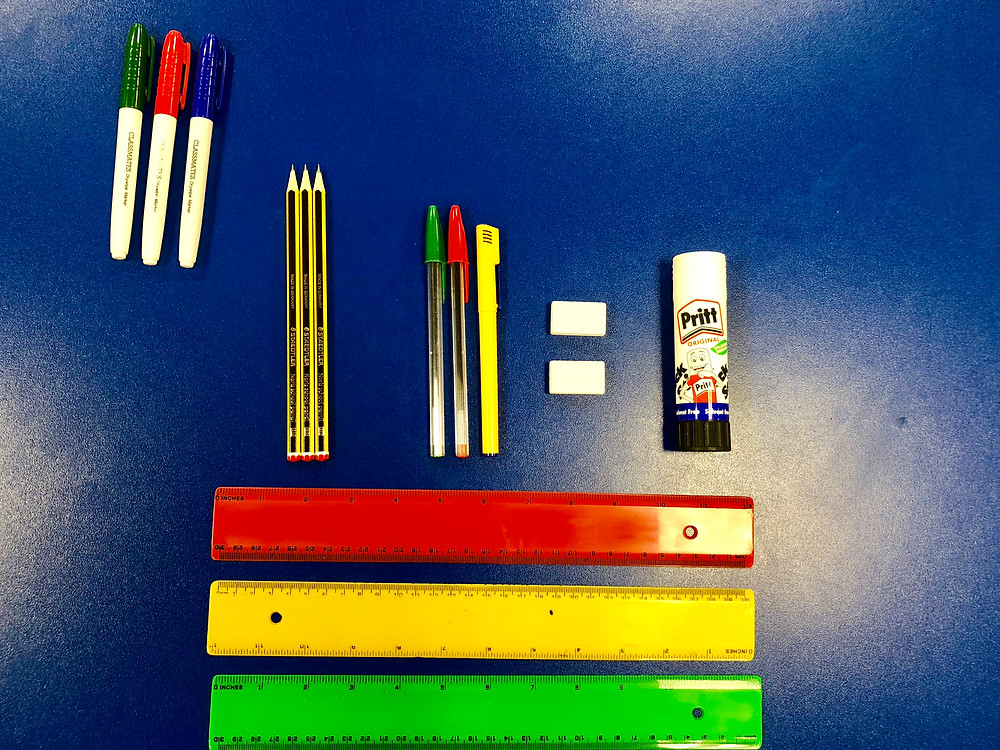 Classroom supplies provided by the school