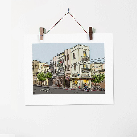Tel Aviv Street Illustration Art Print