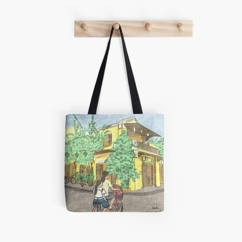 Hoi An Street Illustration Tote Bag