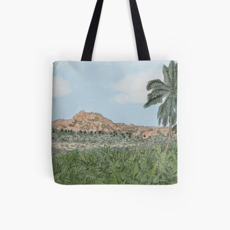 Hampi Watercolor Tote Bag