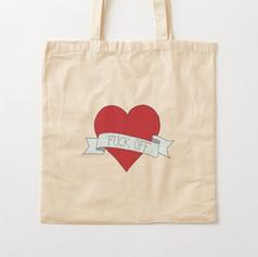 Fuck Off Heart Cotton Tote Bag