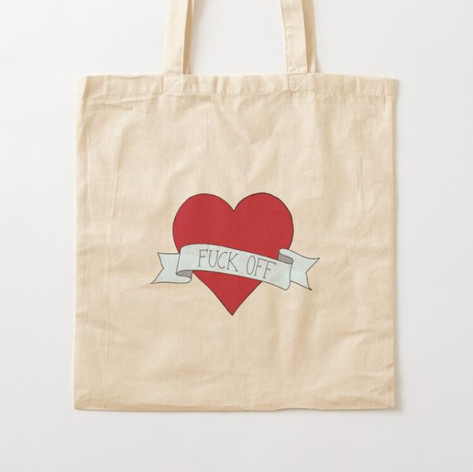 Fuck Off Heart Cotton Tote Bag
