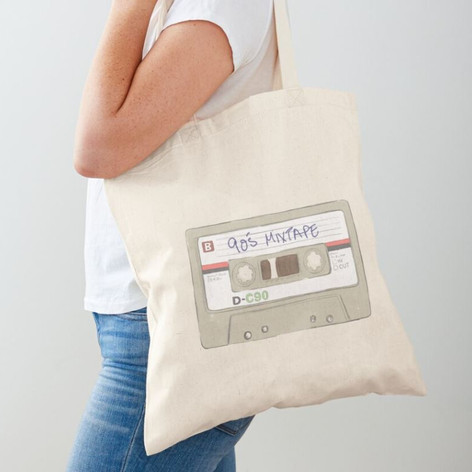 90's Mix Tape Cotton Tote Bag