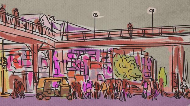 Outside Laxmi Nagar Metro station