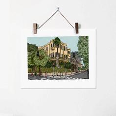 Rothschild Blv. Tel Aviv Urban Illustrat