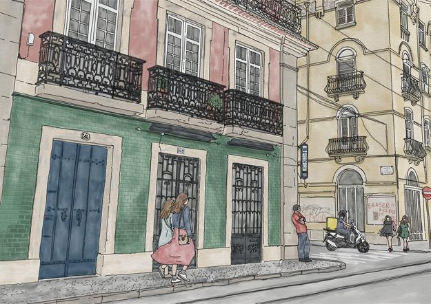 An illustration of a street in Lisbon