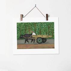 Bufflo and a Cart India Painting Art Pri