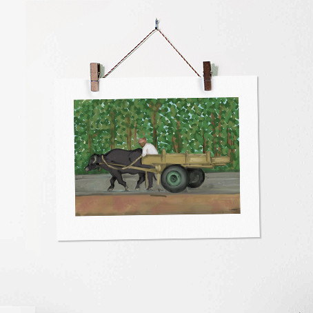Bufflo and a Cart India Painting Art Pri