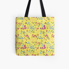 Autumn Leaves Pattern Tote Bag Yellow Background