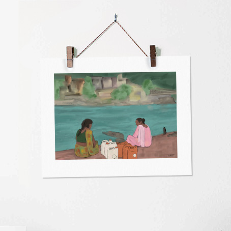 Two Women on the Banks of River Ganges A