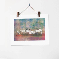 Cows in Rishikesh India Colorful Sketch