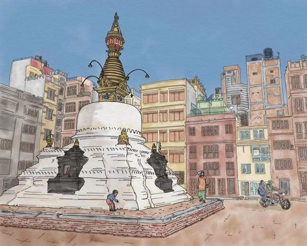 Kathmandu stupa illustration