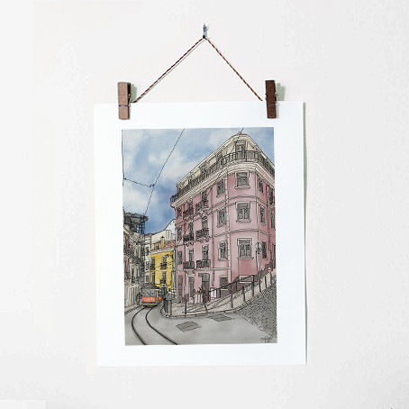 Lisbon Urban Illustration Art Print