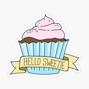 Hello Sweetie Cupcake kiss cut sticker.j