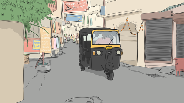 A tuk tuk in Udiapur illustration