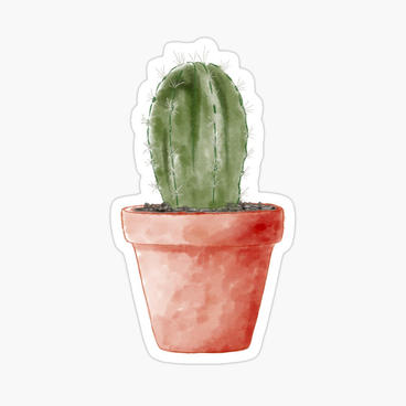Cactus watercolor plant glossy kiss cut