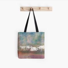 Cows Sketch Colorful Tote Bag