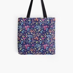 Autumn Leaves Pattern Tote Bag Blue