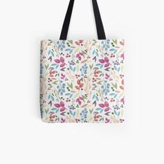 Autumn Leaves Pattern Tote Bag Cream