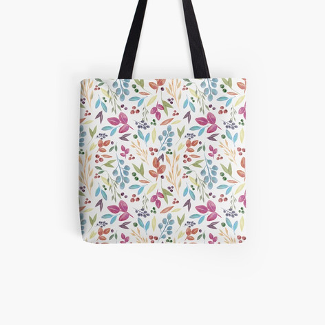 Autumn Leaves Pattern Tote Bag Cream
