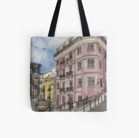 Lisbon Street Watercolor Illustration Tote Bag
