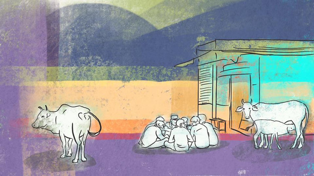 Colorful illlustration of a street scene in Rishikesh
