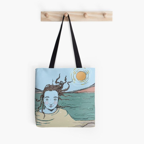 Woman in the Ganga Sketch Tote Bag
