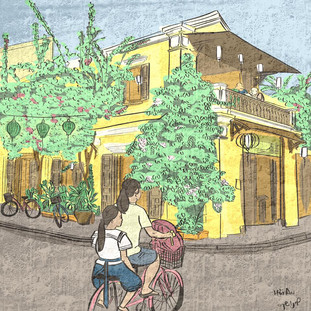 Hoi An old town street illustration
